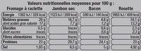 Plateau raclette - Informations nutritionnelles - fr
