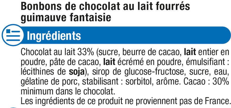 Confiserie oursons en guimauve au chocolat au lait - Ingrédients
