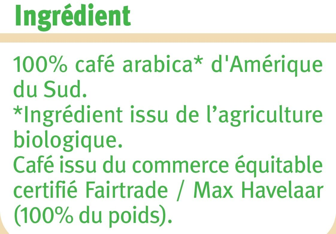 Café moulu Amérique du Sud Max Havelaar - Ingrediënten - fr
