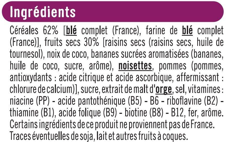 Céréales fruits et fibres - Ingrédients - fr
