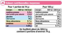 Feuilleté glacé vanille fruits rouges - Nutrition facts - fr