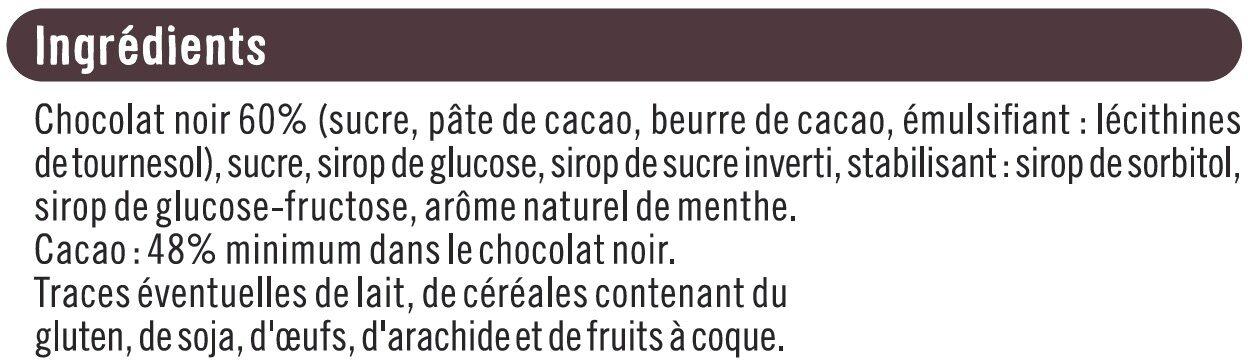 Tablette de chocolat noir fourré à la menthe - Ingrédients