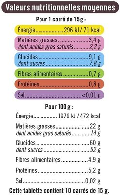 Tablette de chocolat noir fourré à la menthe - Informations nutritionnelles - fr