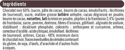 Tablette de chocolat noir fourré et pépites à la framboise - Ingredients - fr