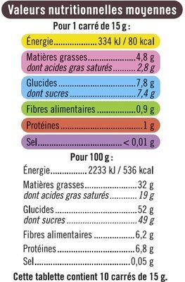 Tablette de chocolat noir fourré et pépites à la framboise - Nutrition facts - fr