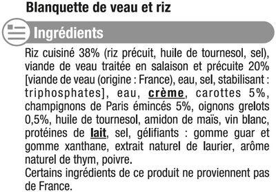 Blanquette de veau - Inhaltsstoffe