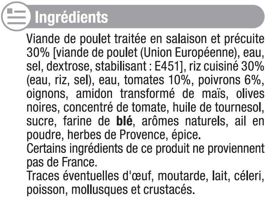 Poulet basquaise et riz blanc - Inhaltsstoffe