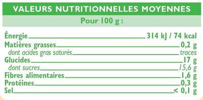 Bocal allégée en sucres compote de pomme - Nutrition facts - fr