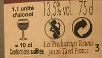 Vin rosé AOC Tavel Les Hauts de Mélaine - Nutrition facts - fr