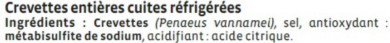 Crevette cuite, Penaeus spp - Ingrediënten - fr