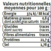 Crevette cuite, Penaeus spp - Nutrition facts - fr