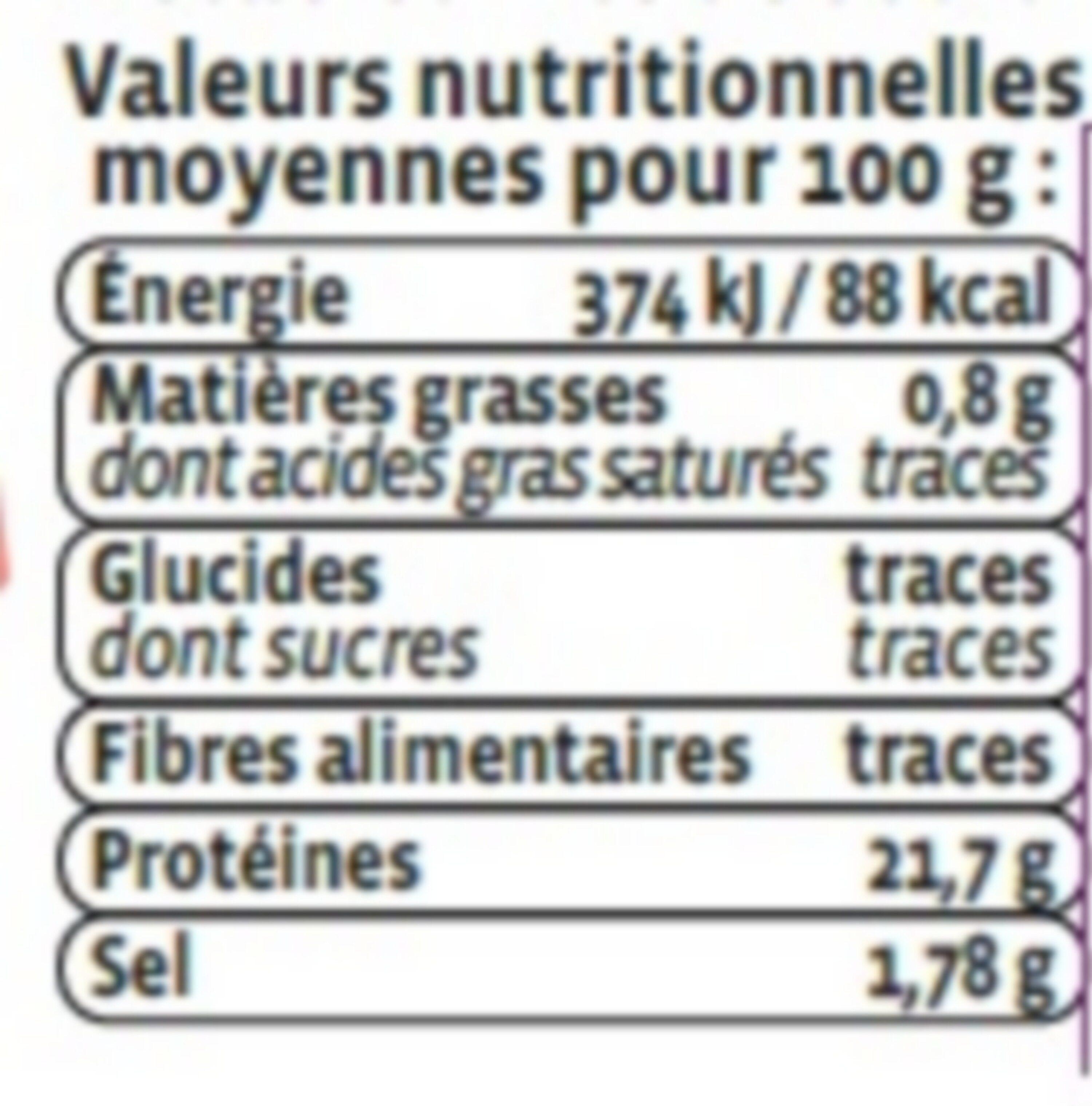 Crevette cuite, Penaeus spp - Voedingswaarden - fr