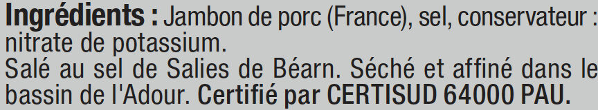 Jambon de Bayonne Indication Géographique Protégée - Ingredients