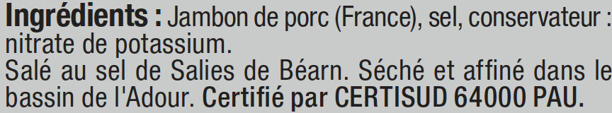 Jambon de Bayonne Indication Géographique Protégée - Ingrediënten
