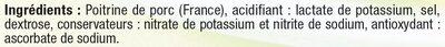 Lardons allumettes fumés à teneur réduite en sel réduit et Oméga 3 Viande de Porc Française - Ingredients
