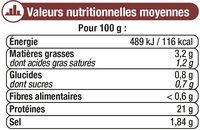 Jambon cuit au torchon découenné - Nutrition facts