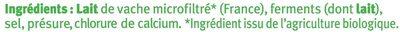 Camembert moulé à la louche au lait microfiltré 20%MG - Ingrediënten - fr