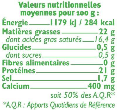 Camembert moulé à la louche au lait microfiltré 20%MG - Voedingswaarden - fr