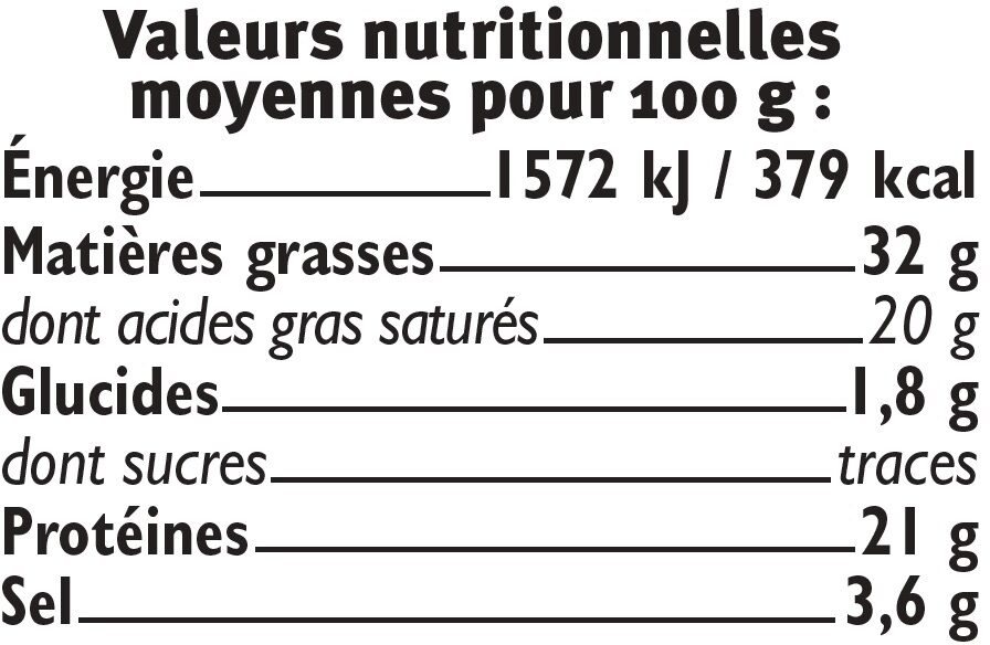 Roquefort AOP lait cr U_BIO logique 32% de MG - Voedingswaarden - fr