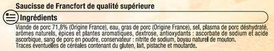Saucisses de Francfort - Ingrédients