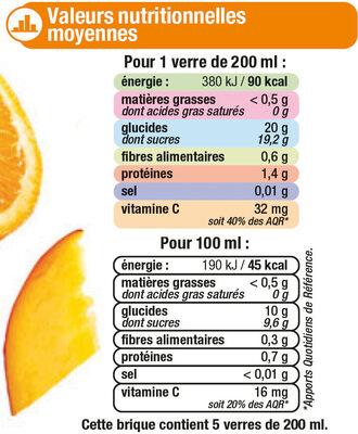 Pur jus réfrigéré orange/mangue - Voedigswaarden