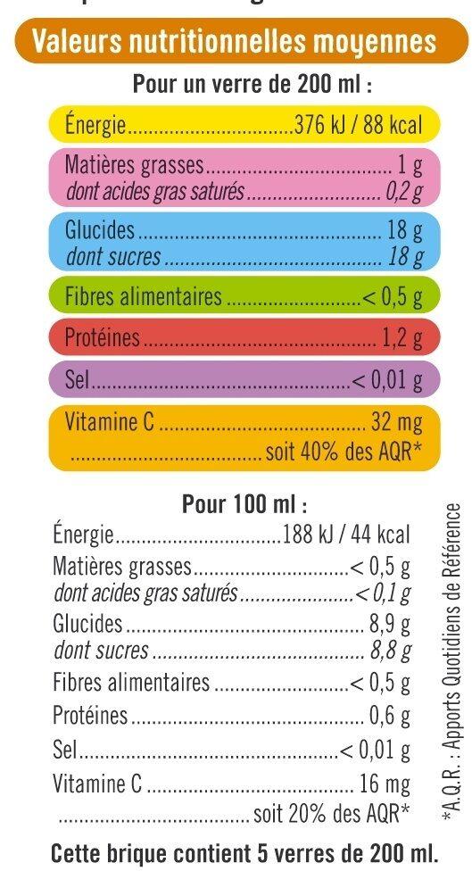 Pur jus réfrigéré orange et mangue - Voedingswaarden - fr