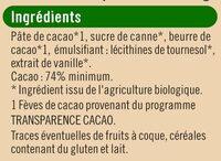 Tablette de chocolat noir - Ingrediënten