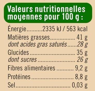Tablette de chocolat noir - Voedingswaarden