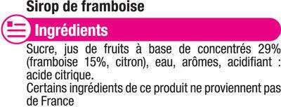 Sirop de Framboise - Ingredients
