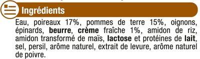 Velouté de poireaux et pommes de terre - Ingredients