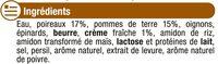 Velouté de poireaux et pommes de terre - Ingrédients - fr