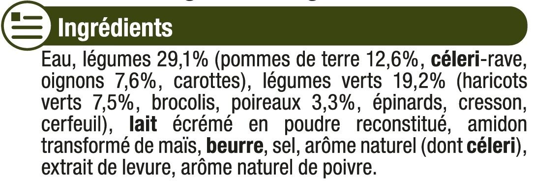 Mouliné de légumes vert - Ingrediënten - fr