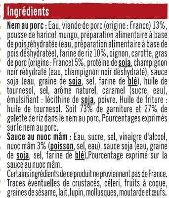 Nems au porc x4 + sauce nuoc mam - Ingrédients - fr