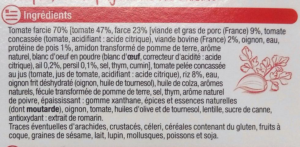 Tomates farcies & riz cuisiné - Ingrédients - fr