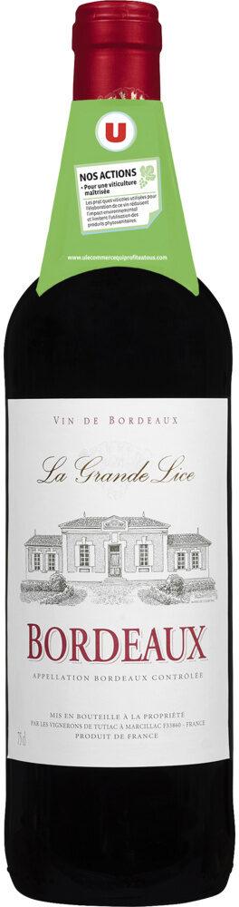 Vin rouge AOP Bordeaux La grande Lice - Product - fr