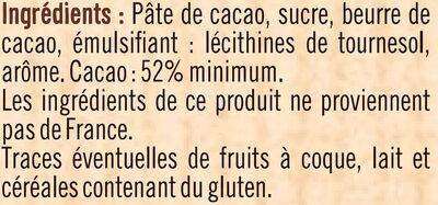tablette de Chocolat à patisser - Ingrédients