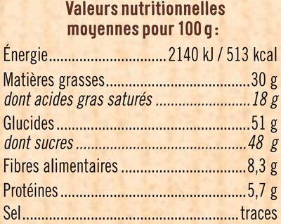 tablette de Chocolat à patisser - Informations nutritionnelles