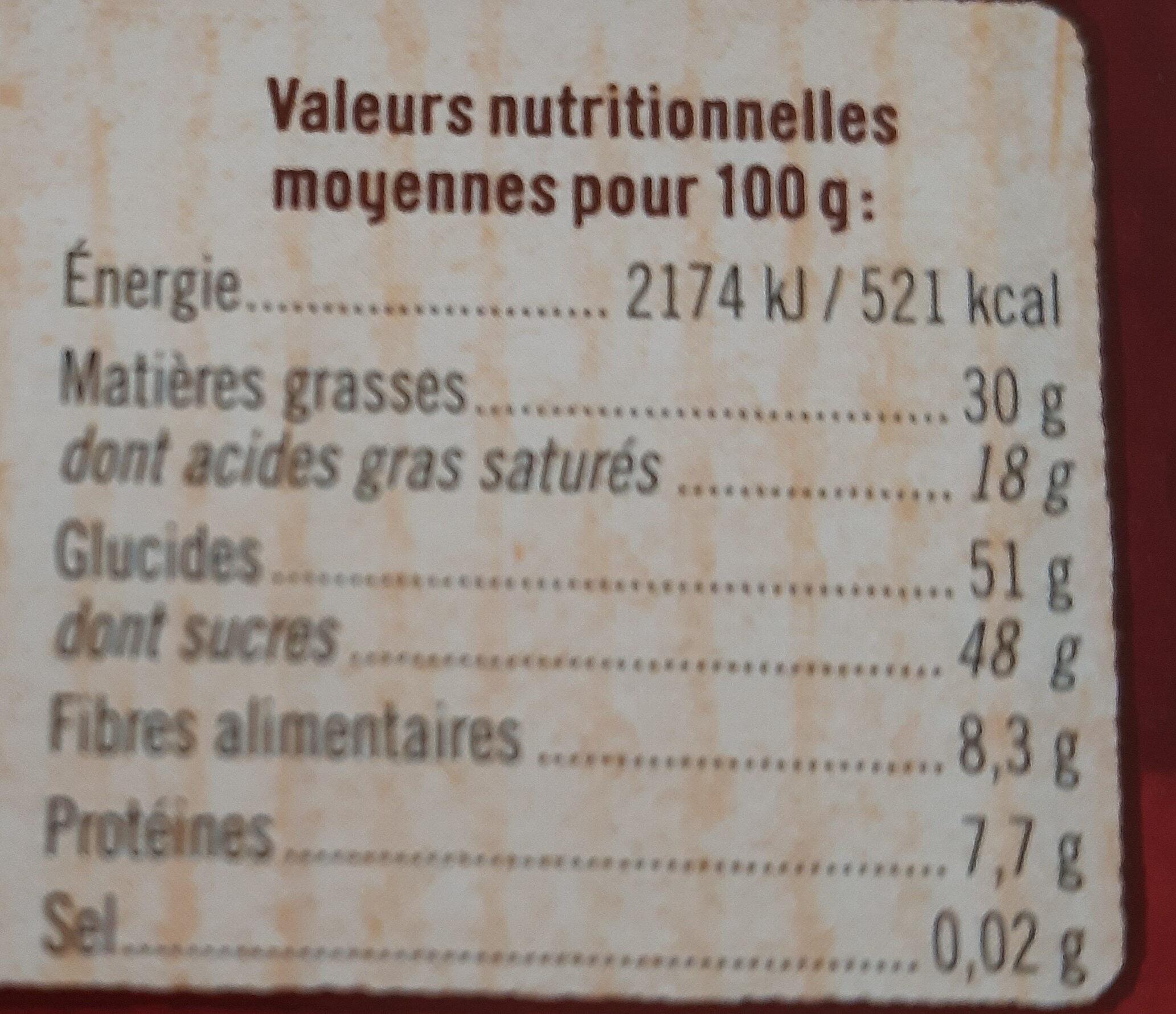 tablette de Chocolat à patisser - Informations nutritionnelles - fr