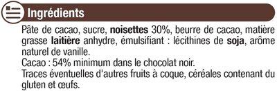 Tablette de chocolat noir et noisettes entières - Ingrédients
