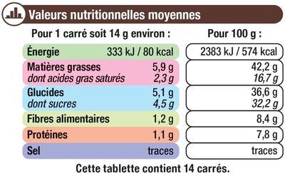 Tablette de chocolat noir et noisettes entières - Informations nutritionnelles