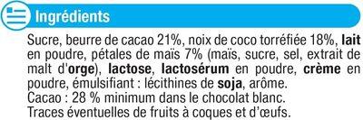 Chocolat blanc à la noix de coco et pétale de maïs - Ingrédients