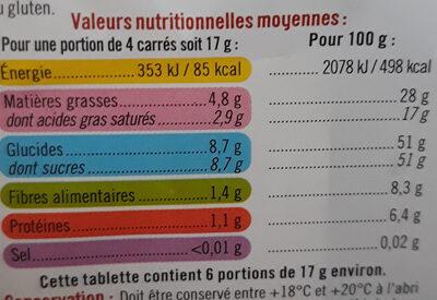 Chocolat Noir supérieur - Informations nutritionnelles