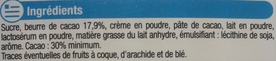 Chocolat lait au lait du pays alpin - Ingredients