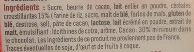 Chocolat lait croustillant - Ingrédients - fr