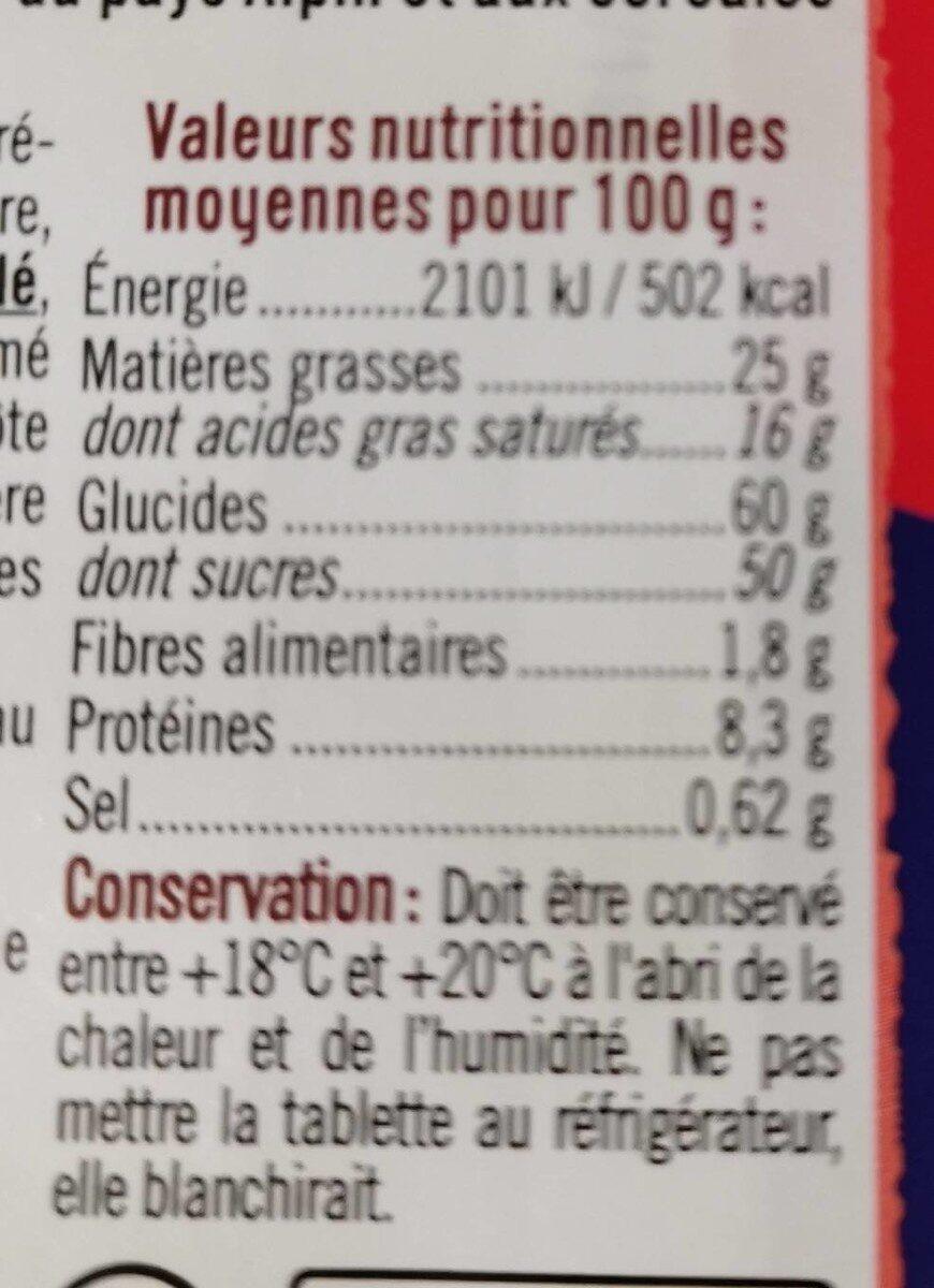 Chocolat lait croustillant - Informations nutritionnelles - fr
