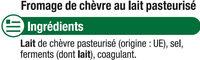 Fromage au lait de chèvre pasteurisé Sainte Maure 25%mg - Ingrédients - fr