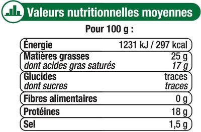 Fromage au lait de chèvre pasteurisé Sainte Maure 25%mg - Informations nutritionnelles