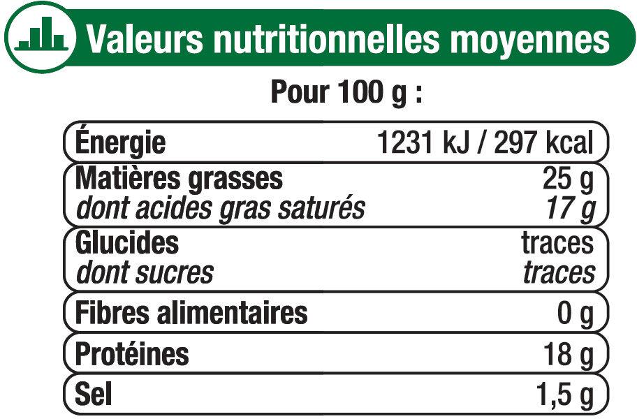 Fromage au lait de chèvre pasteurisé Sainte Maure 25%mg - Informations nutritionnelles - fr