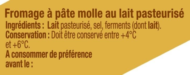 Fromage pasteurisé Coulommiers 23% de MG - Ingrediënten - fr