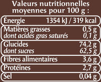 Raisin Golden, calibre 200/225 - Nutrition facts - fr